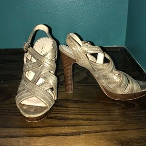 Gold straps heels
